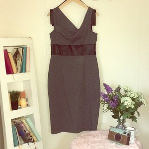 Maggy London Grey & Black Leather Midi Dress